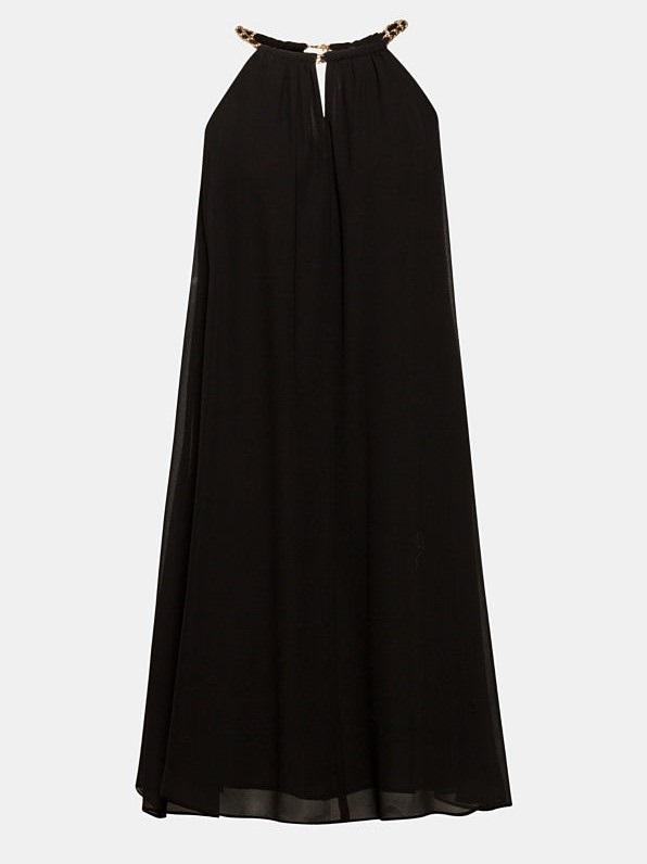 Chiffon jurk met kettingdetails